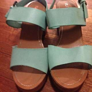 Blue High Heels Strappy Chunky Wedge Vintage Clogs