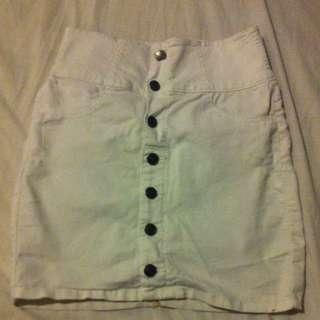 High Waisted White Skirt