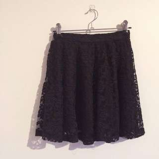 Black Floral Lace Skirt