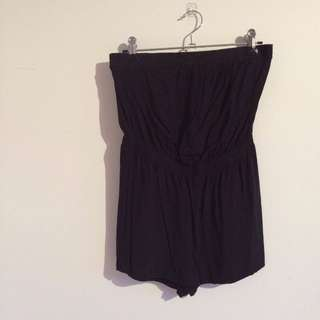 Plain Black Playsuit