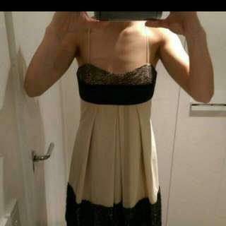 Cream And Black Dress Size S