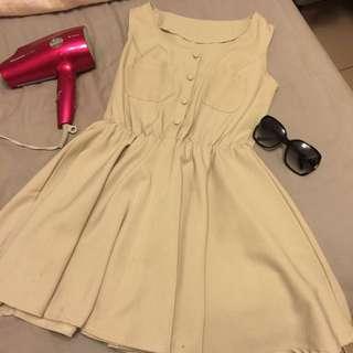 氣質淑女連身洋裝米色上班族OL(價格含運、購買就送小禮物)