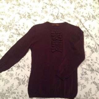 BALLY Designer Merino Wool 3/4 Sleeve Top