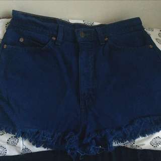 Levis High Waisted Blue Denim Shorts