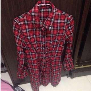 紅色格子襯衫(長)