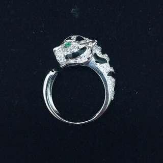 鑽豹純銀戒指