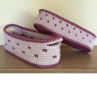 crocheted cotton stackable baskets - pinkish beige with plum dots (with desired name tag or short message tag)