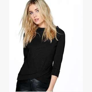 BNWT Boohoo Black Sweater ROSIE BOAT NECK RIBBED BODYCON T-SHIRT