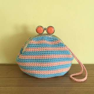crocheted coin purse with blue and pink stripes (with desired name tag or short message tag)