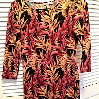 Short Tropical Print Dress
