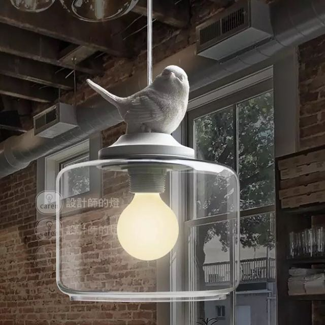 全新北歐風吊燈透明燈罩鳥燈