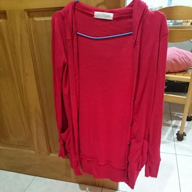 東京著衣紅色針織外套