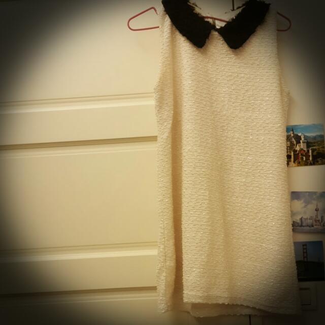 ◤◣二手◤◢白色無袖黑領洋裝