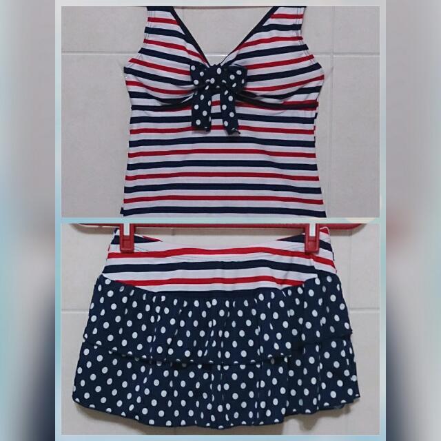 條紋混搭波點 蛋糕裙  遮肚 分體泳裝 溫泉SPA泳衣  二件組