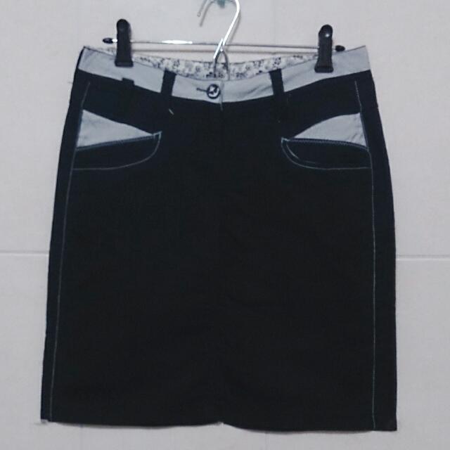 海軍風 深藍色 膝上裙