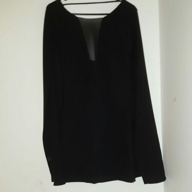 Black Body Fit Dress With A Coat Attached