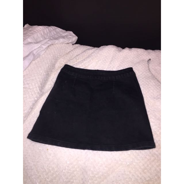 Black Denim Tight Fit Skirt