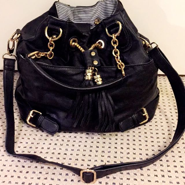 Black with Gold Detail Large Satchel