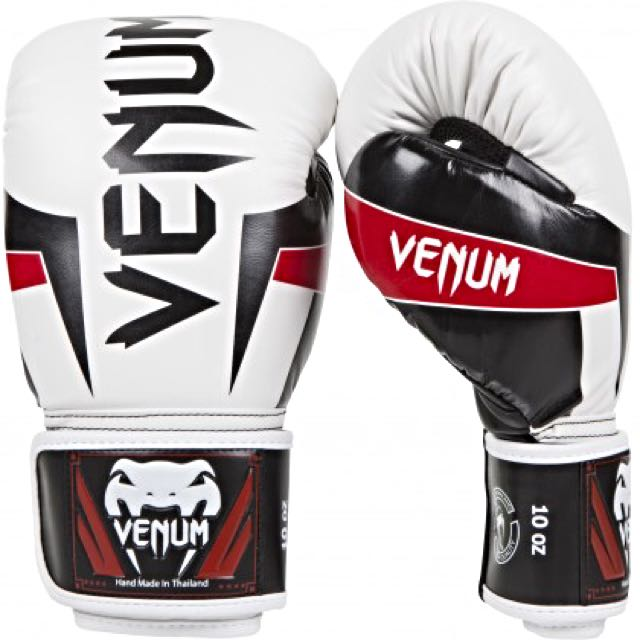 VENUM - Elite Boxing Gloves (白) 拳擊手套 蟒蛇