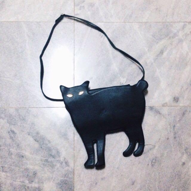 Cat Shaped Rivet Black Bag (ROMWE)