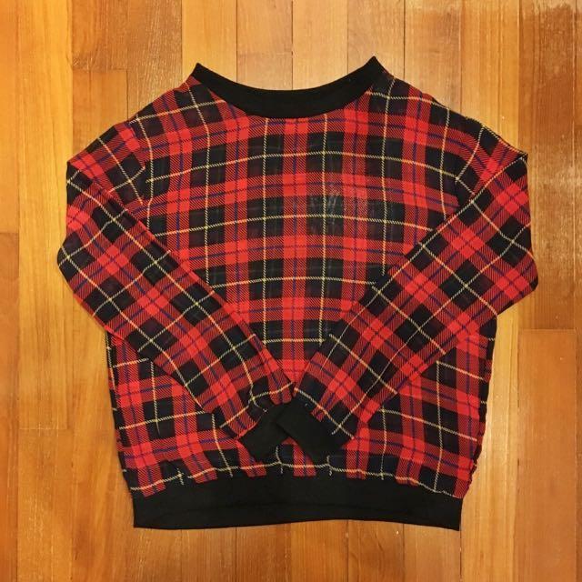 Checkered Chiffon Sweater