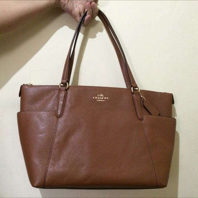 Coach Pebble Leather Ava Tote Saddle-New with Tag