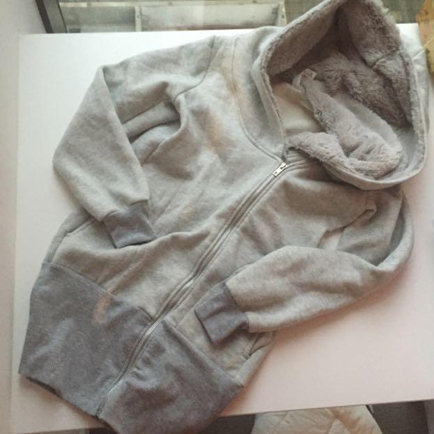 Grey Jacket, Hoodie , Fur