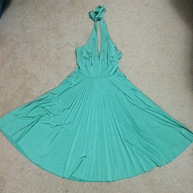 Halter Pleated Green Dress