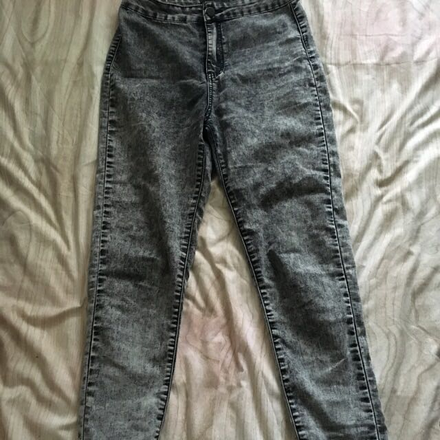 High Wasted Skinny Jeans Washed Out Grey Denim
