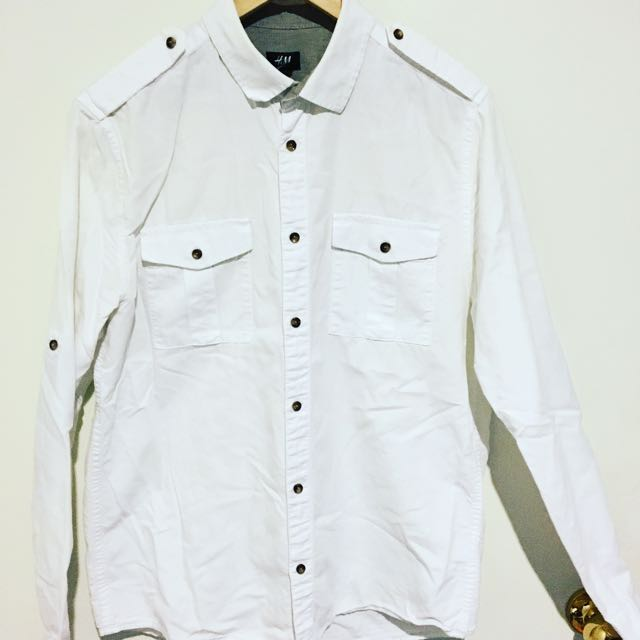 H&M Men's White Shirt. Size L