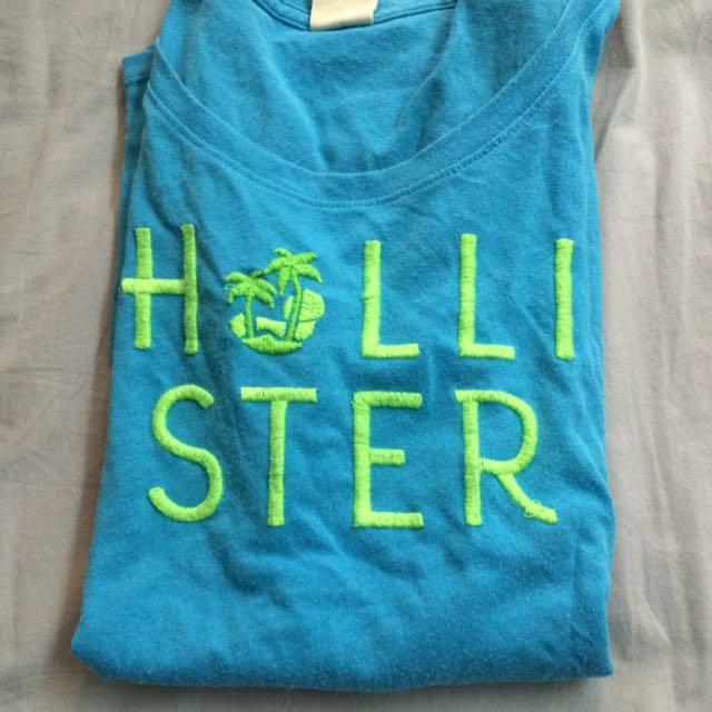 hollister藍色短T