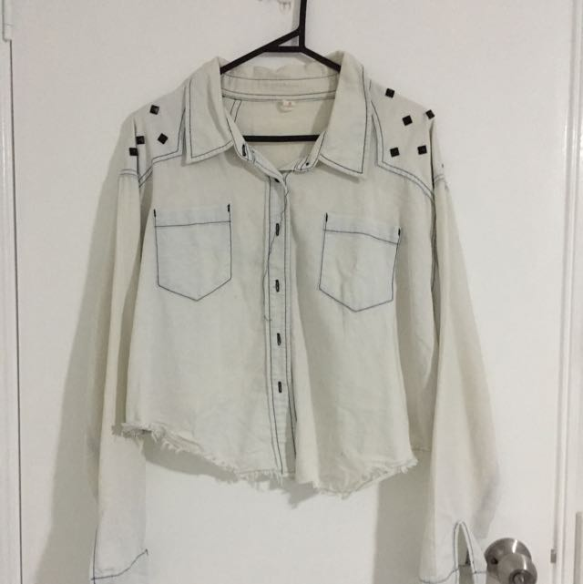 Light Denim Shirt With Shoulder Stud
