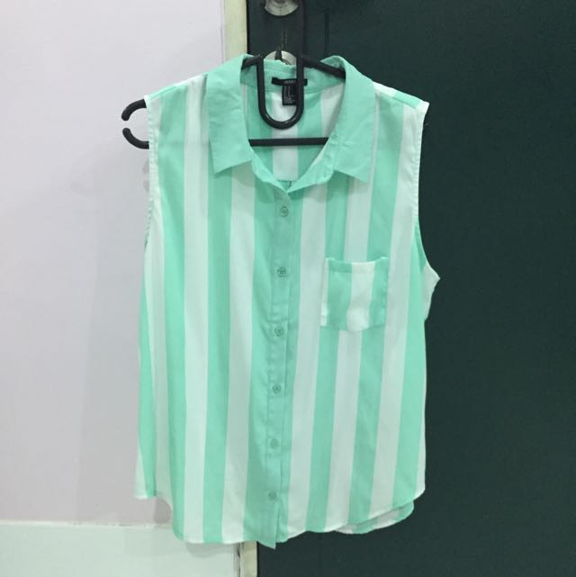Mint Collar Sleeveless Top forever 21