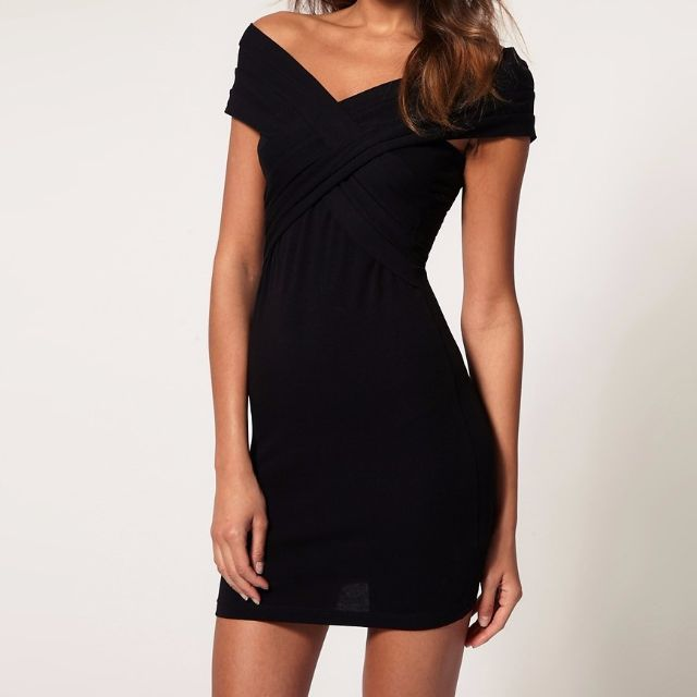 NEW Black bodycon dress with cross front