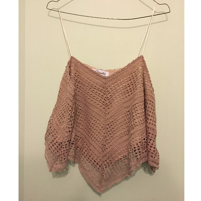 Nude + Maroon crop top from DollyGirl