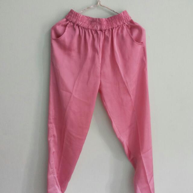 Pink Sateen Pants