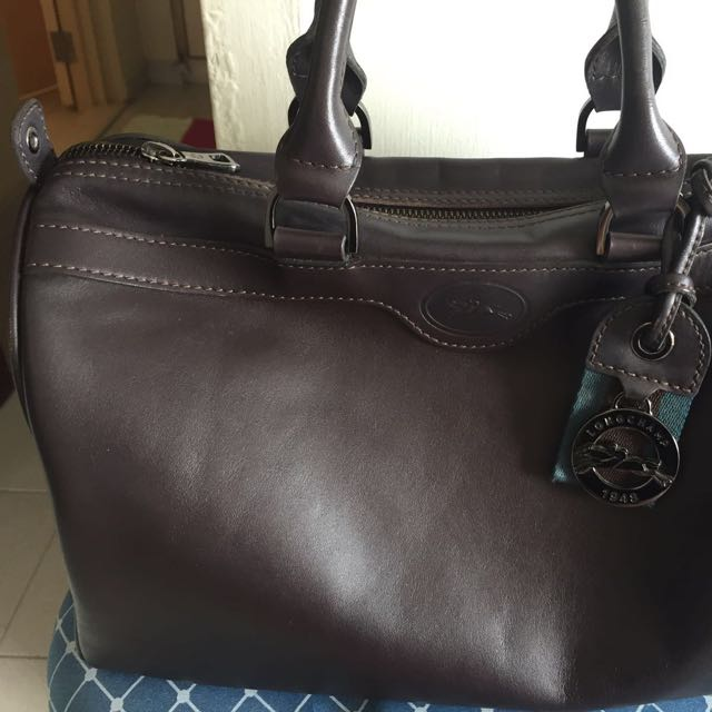 7f141523f247 Preloved Authentic Longchamp Dark Brown Full Leather Bag