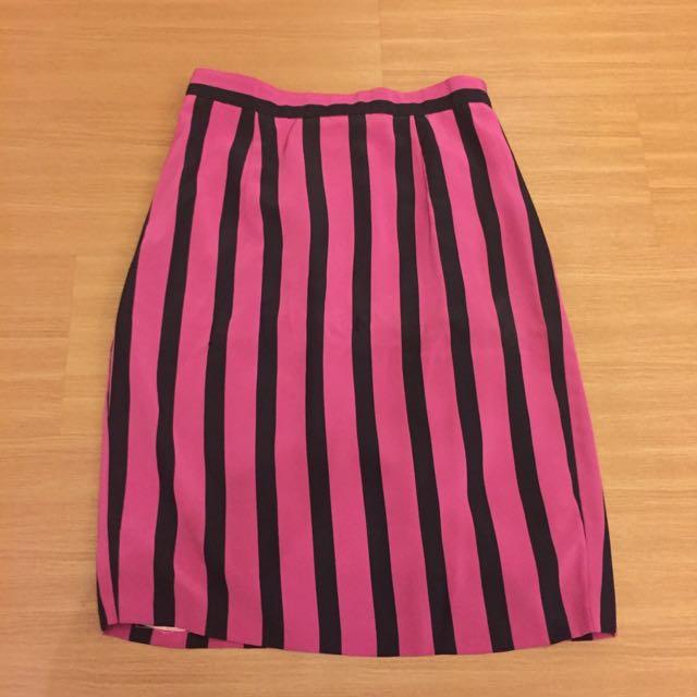 Preloved Vintage Skirt (pink Black Strips)