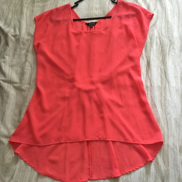 Salmon/hot Pink Chiffon Top