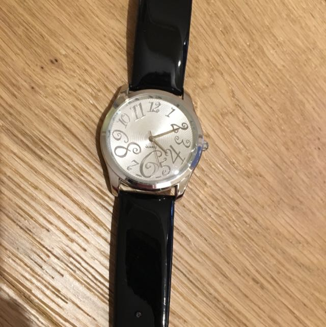Silver Watch With Black Strap