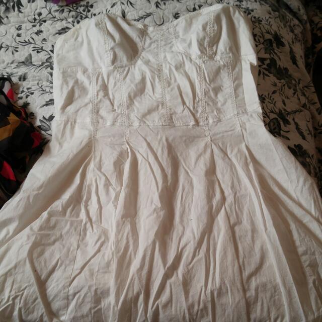 Strapless Ribbed Summer White Dress