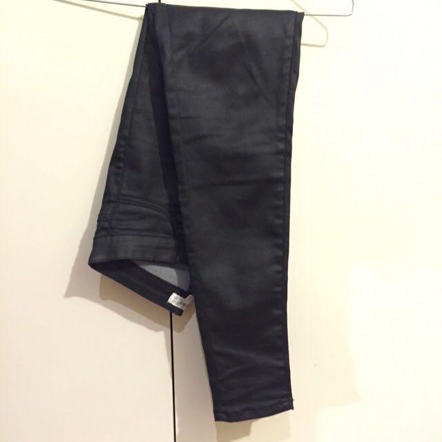 Stretchy Wet-look Black TEMT Jeans