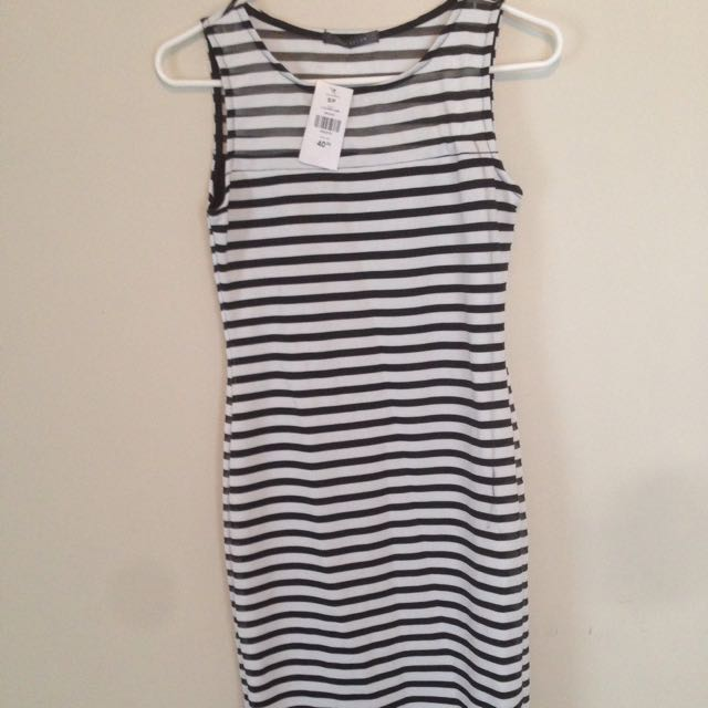 Striped black and white dress from Suzy sheer