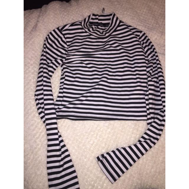 Striped Long Sleeve Crop