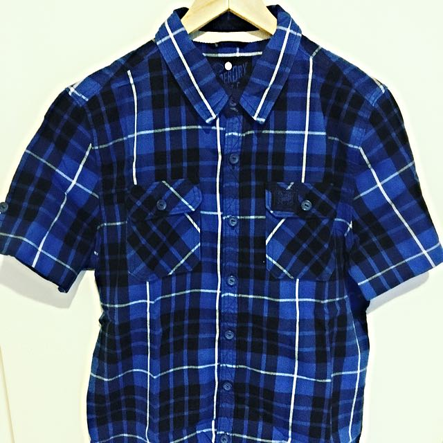Superdry Blue Checkered Men's X Large Short Sleeve Shirt