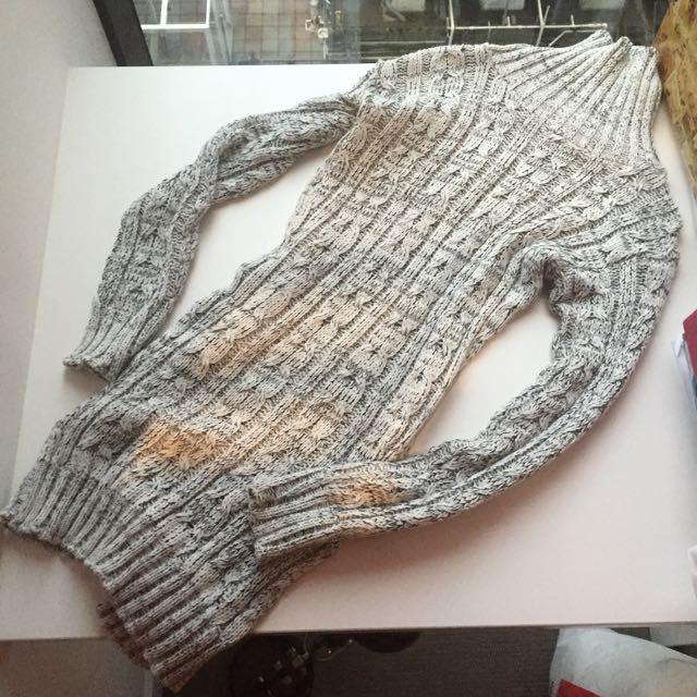 Turtle Neck Dress, Bodycon Grey Knit