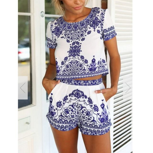White and blue co-ord set