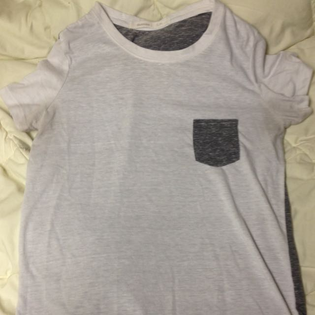 white and grey pocket tee