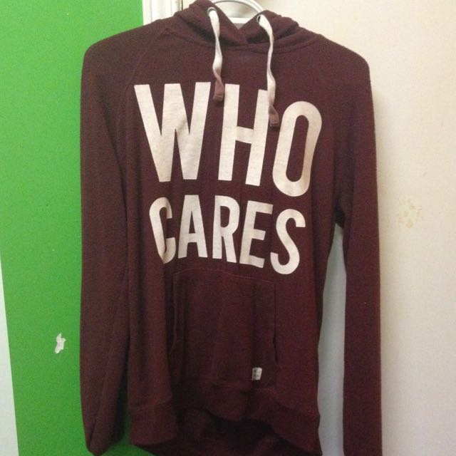 """who cares"" thin hoodie"