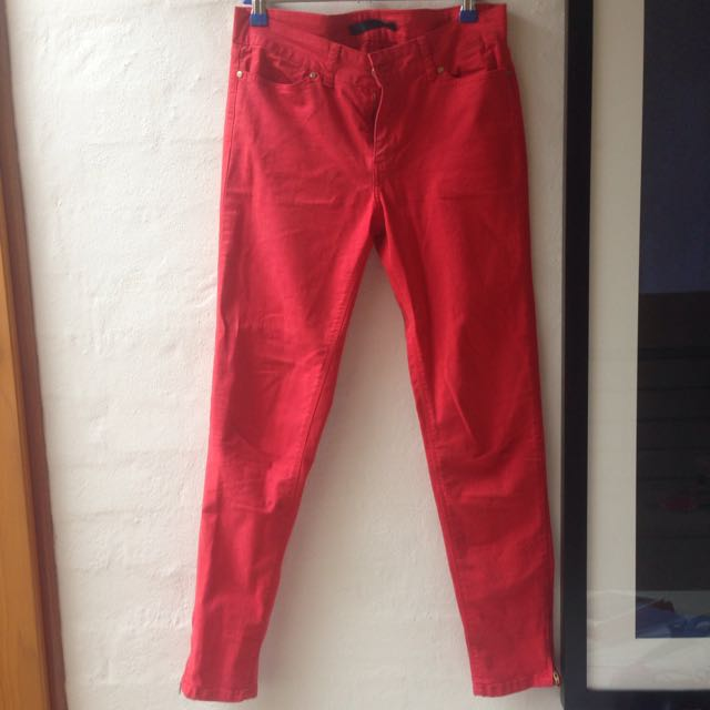 ZARA Red Stretchy Jeans